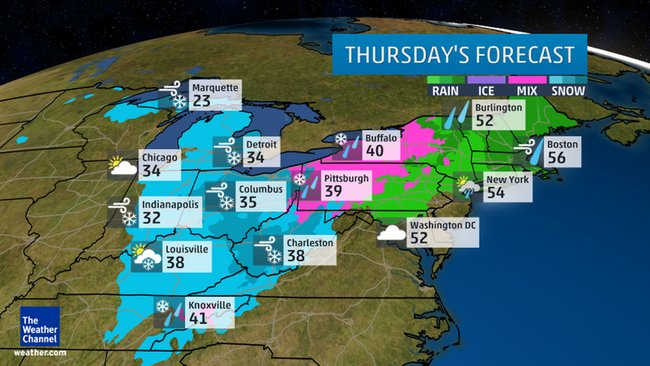 Thursday's Forecast Rain/Snow/Ice  Photo credit: Weather Channel