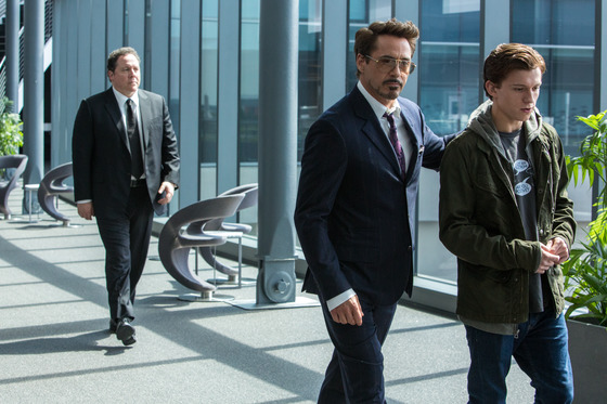 (l to r) Jon Favreau, Robert Downey Jr. and Tom Holland in Columbia Pictures' SPIDER-MAN�: HOMECOMING.