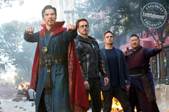 MARVEL'S AVENGERS: INFINITY WAR Benedict Cumberbatch as Doctor Strange, Robert Downey Jr. as Tony Stark/Iron Man, Mark Ruffalo as Dr. Bruce Banner/Hulk, and Benedict Wong as Wong