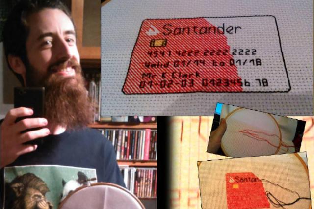 Santander card in cross-stitch