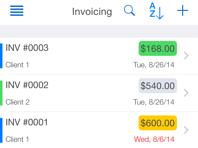 TimeTrack Free Invoices View