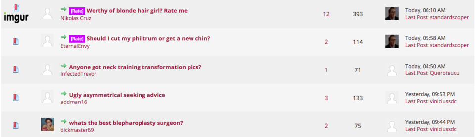 """Algunas conversaciones recientes en el sitoo Lookism.net, incluidas """"¿Merezco a una mujer rubia?..."""