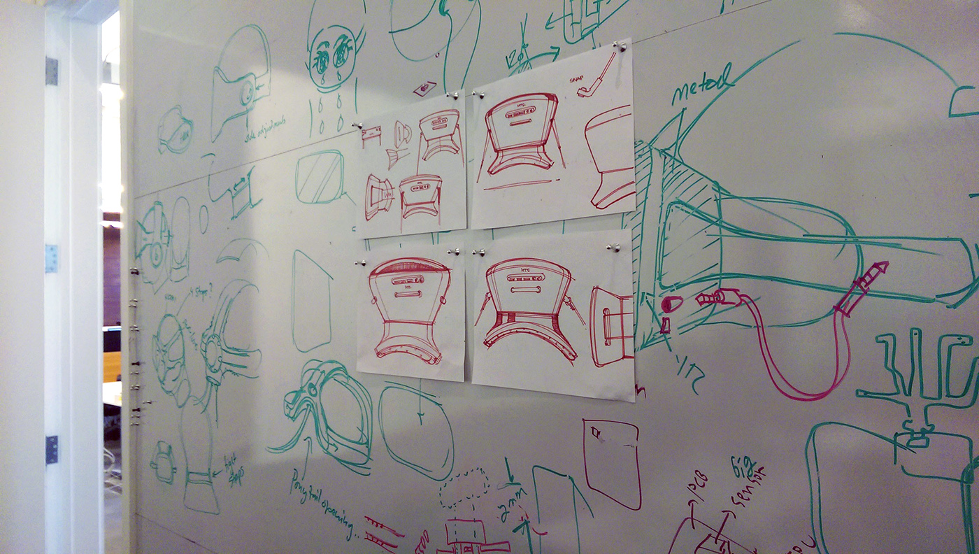 How Htc And Valve Built The Vive Head Case Designs Black Circuit Boards Hard Back For One Mini A Whiteboard At Htcs Design Studio Illustrates Companys Prototyping Process