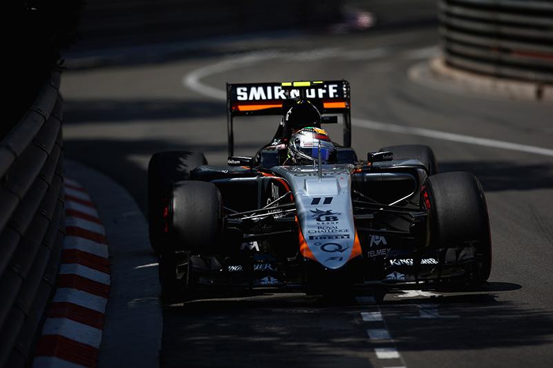 Sergio Perez drives during the 2015 Monaco F1 Grand Prix.