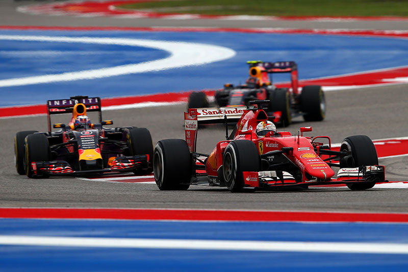 Sebastian Vettel leads a couple of challengers at the US Grand Prix.
