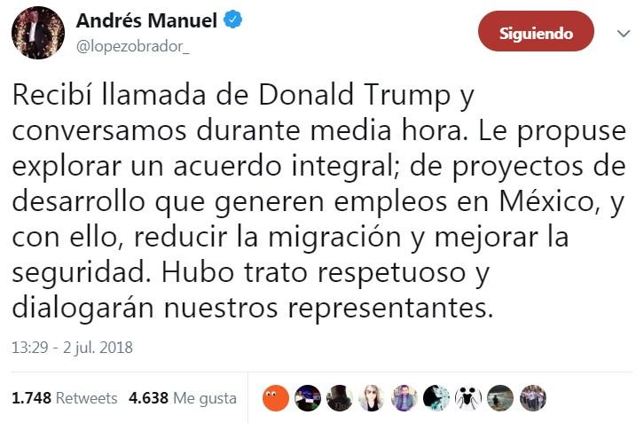 El mensaje que compartió López Obrador sobre su llamada con