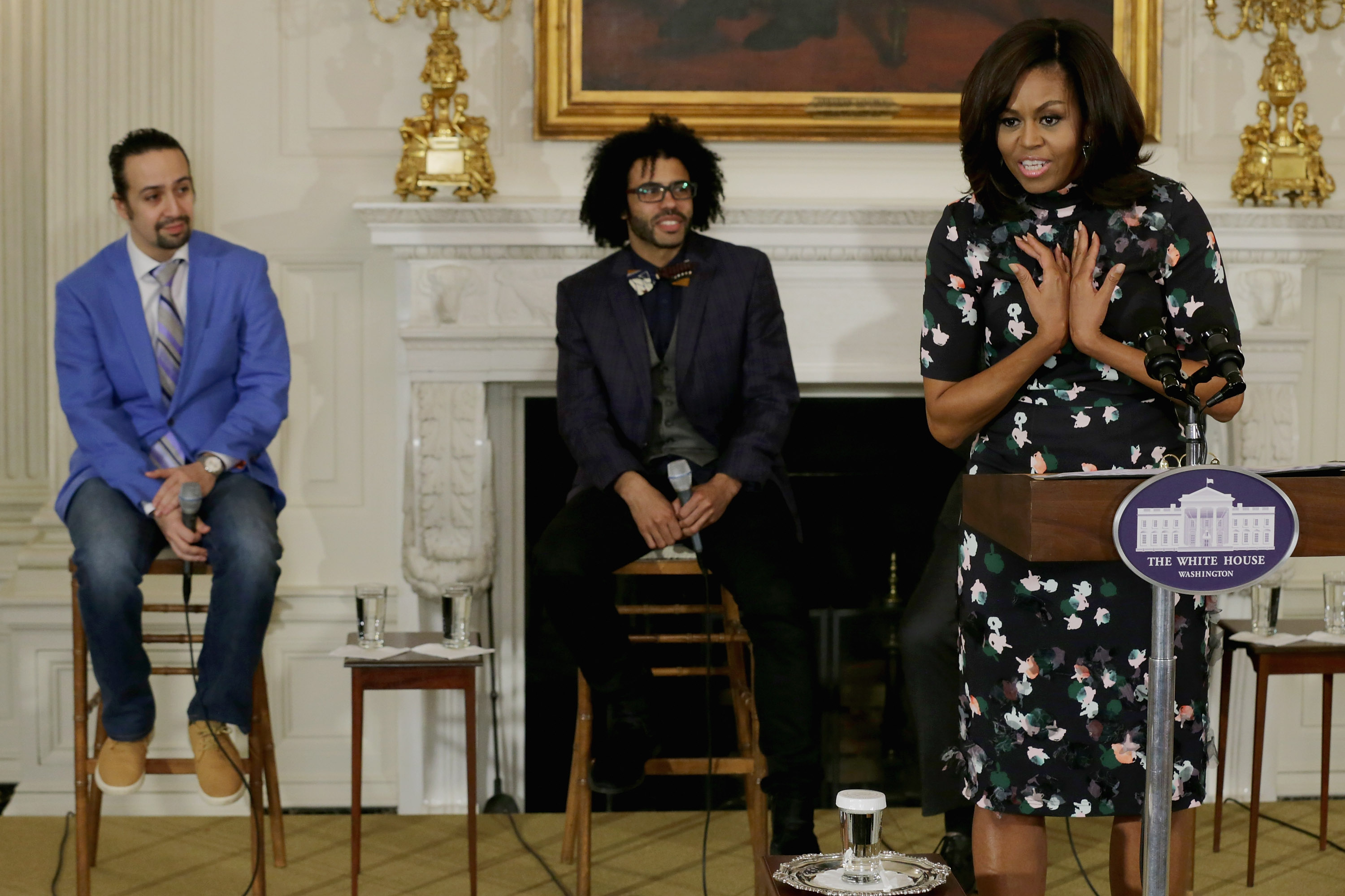 "Michelle Obama Hosts Cast Of Broadway's ""Hamilton"" At The White House"