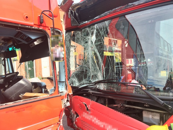 Two buses in head-on collision leaves six in hospital