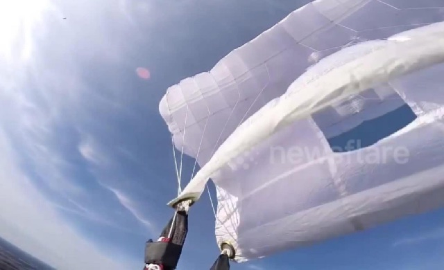 Terrifying moment skydiver's parachute malfunctions