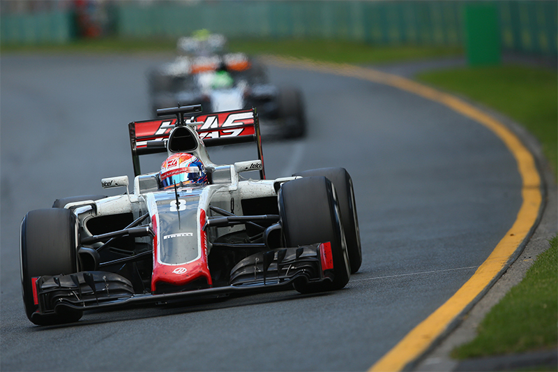 Romain Grosjean with Haas F1 in the 2016 Australian F1 Grand Prix.