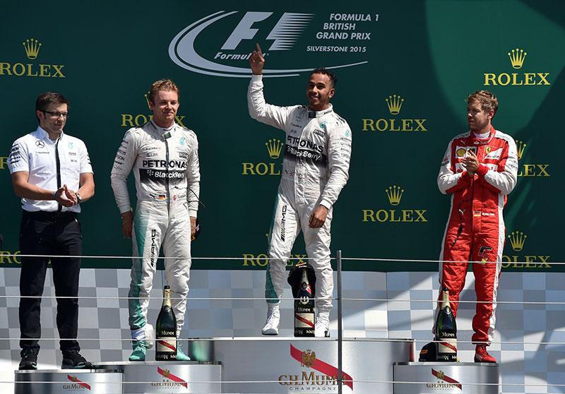 The podium at the 2015 British F1 Grand Prix.