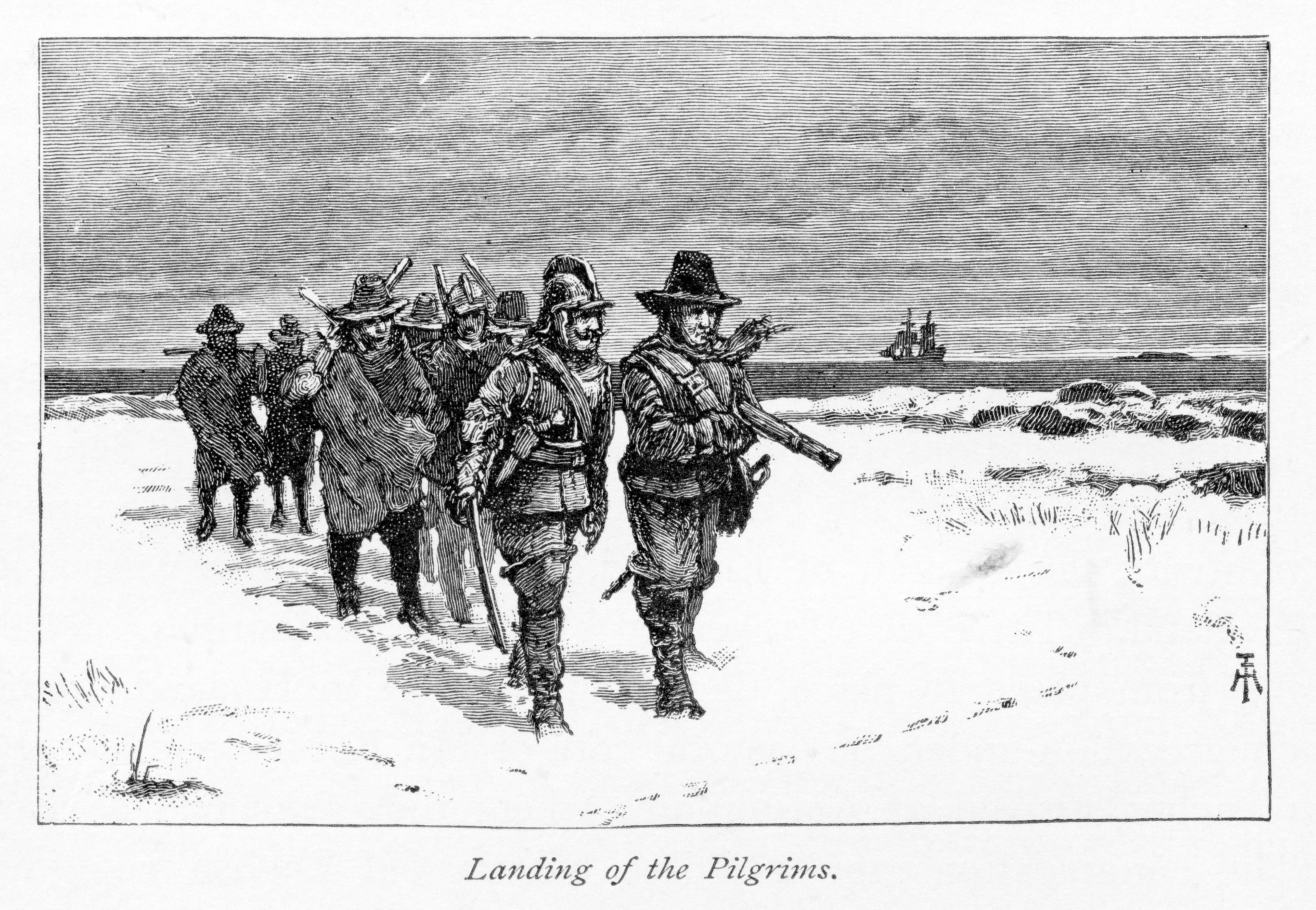 Ilustración que interpreta la llegada de los primeros colonos al descender del barco inglés Mayflower,...
