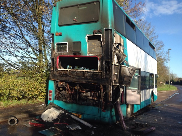 Bus bursts into flames in Surrey: 3 passengers evacuated