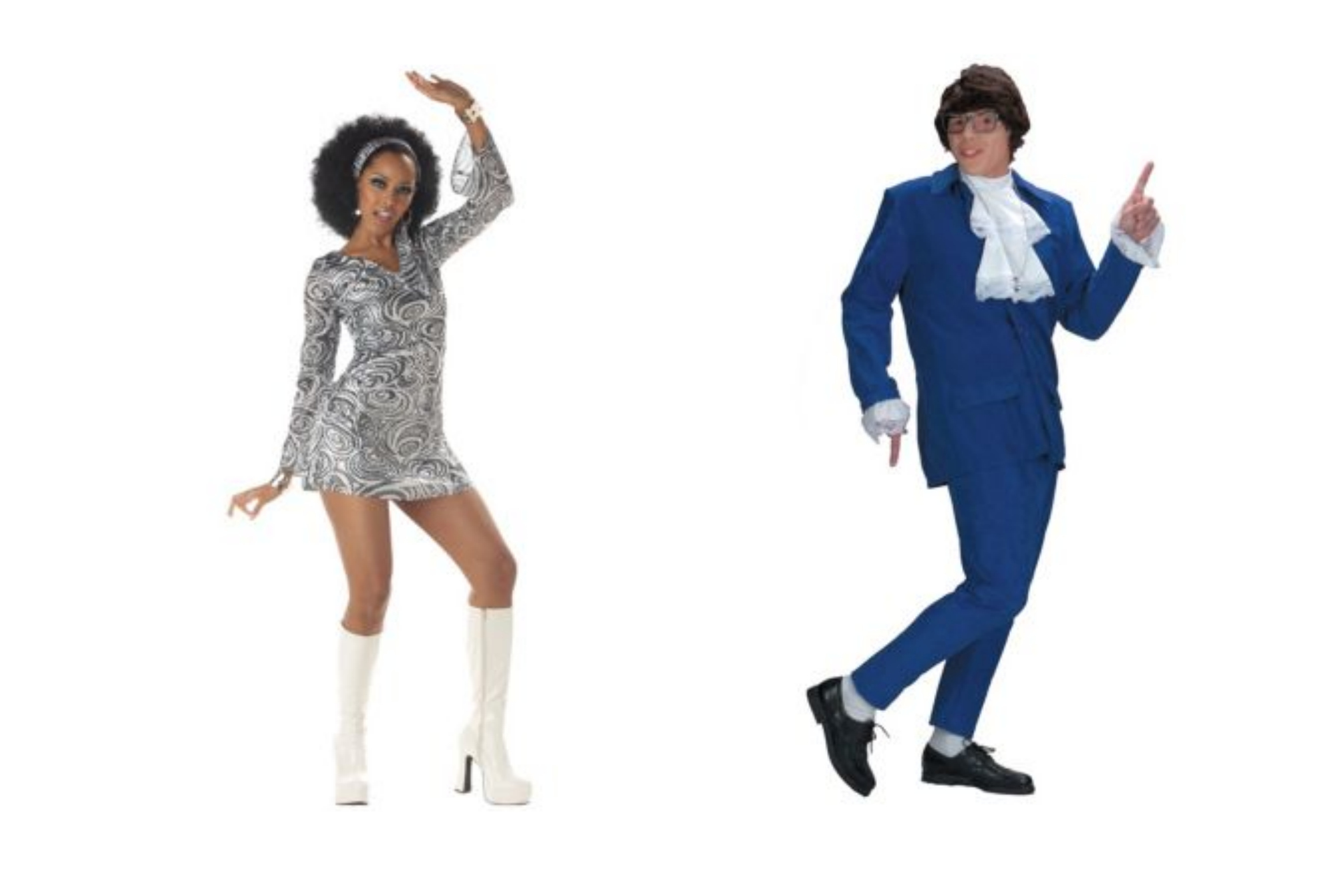 Austin Powers and groovy 60s girl Halloween costume