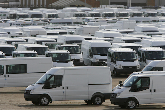 Hundreds of Ford Transit vans awaiting export at Southampton Docks near the Ford factory in Southampton, where workers have started a four-day week as the company cuts production in response to the economic downturn.