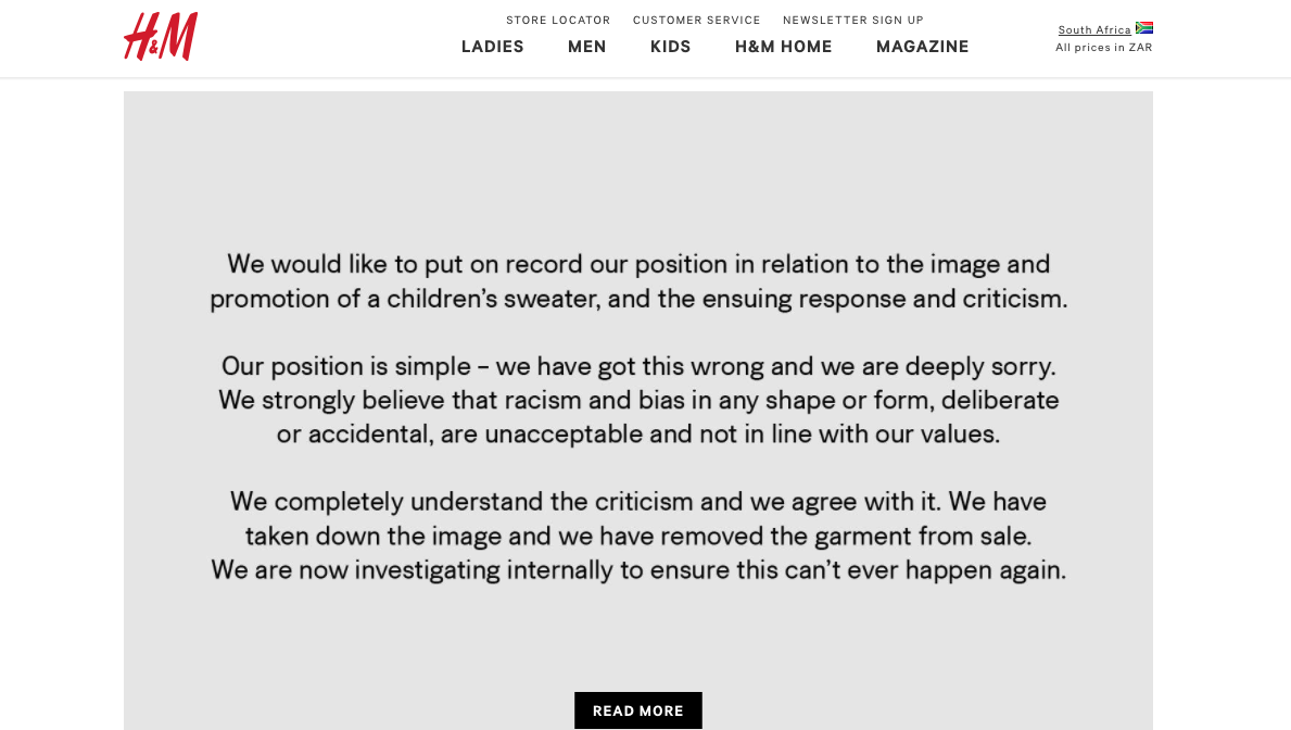 H&M Reputation Is 'Damaged' -- Brand