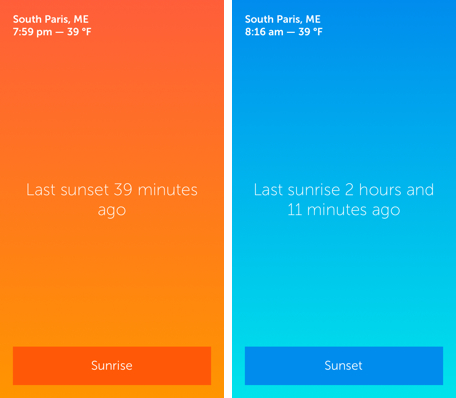 Daily App: Skylit shows sunset and sunrise times so you are