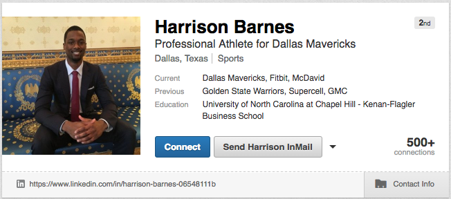 this nba star has a linkedin profile and his resume might
