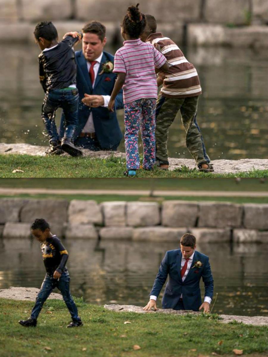 Un novio salva a un niño que se estaba ahogando durante su sesión de fotos de