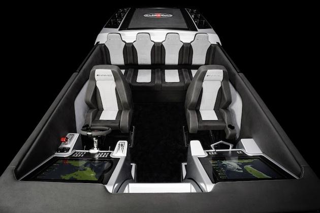 """Das neue Cigarette Racing 515 Project ONE inspired by Mercedes-AMG ist   15,67 Meter lang und bietet mit seinem 2,90 Meter breiten Rumpf sechs Fahrgästen komfortable Sitzplätze.   Representing the ninth special edition boat created from this partnership, the Cigarette Racing 515 Project ONE is 51' 5"""" in length and features an increased beam of 9' 6"""" which allows 6 passengers the ability to be seated comfortably."""