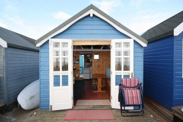 The front of the beach hut.