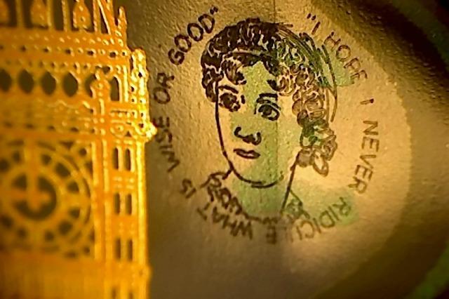 Jane Austen engraving on £5 note