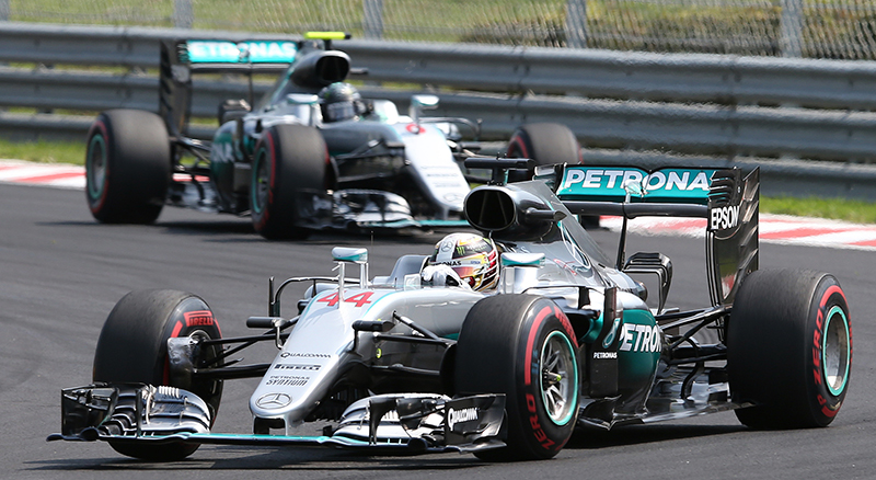 Mercedes driver Lewis Hamilton of Britain leads ahead of Mercedes driver Nico Rosberg of Germany during the Hungarian Formula One Grand Prix, at the Hungaroring racetrack, in Budapest, Hungary, Sunday, July 24, 2016.