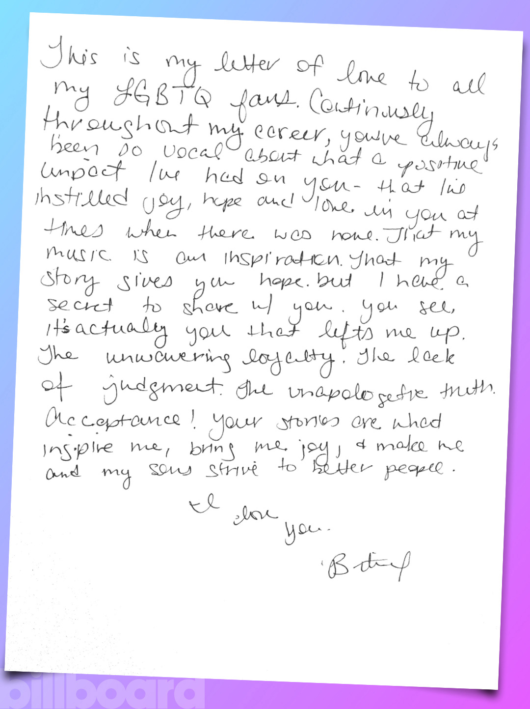 Below Pop Music Icon Britney Spears Shares Her Handwritten Note Read More Pride Month Love Letters Here