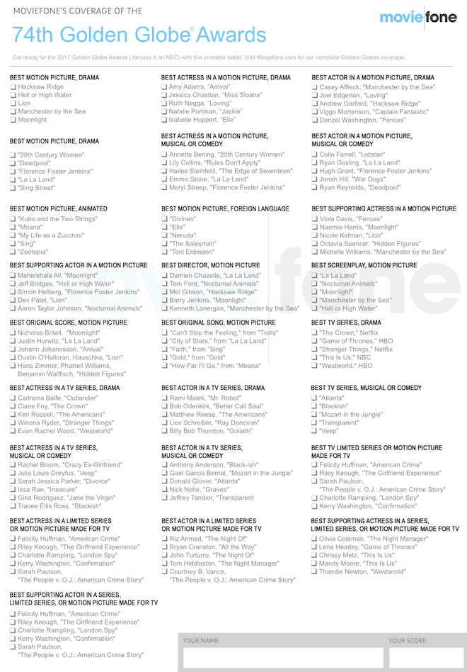 Printable Golden Globes ballot 2017