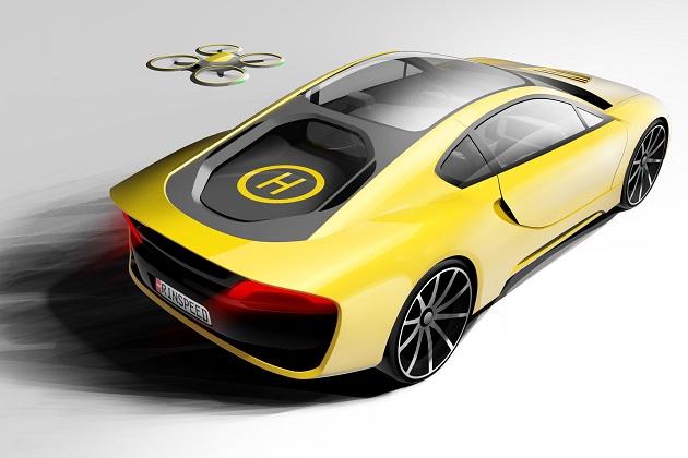 スイスのリンスピード社がCESに出展する新型コンセプトは、ドローン用ヘリポートを備える自動運転スポーツカー