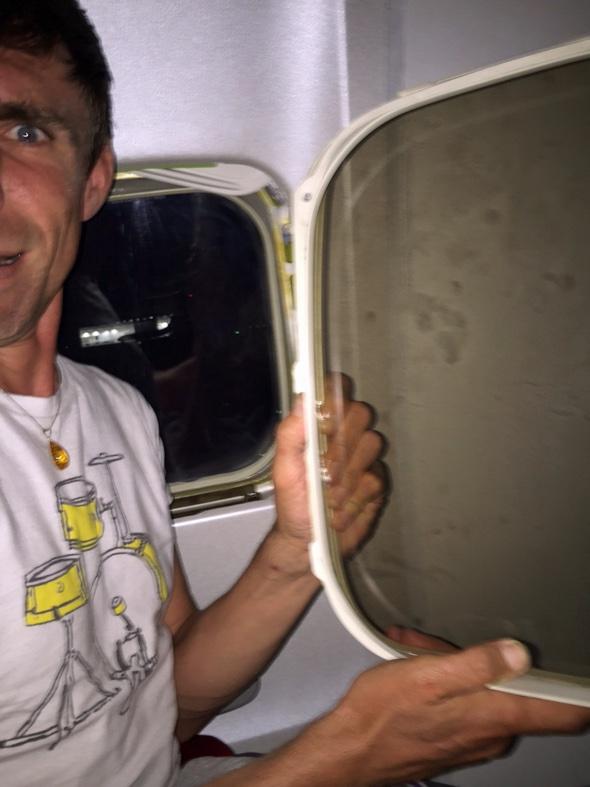 Ryanair passenger shocked when 'window' falls on his lap during landing