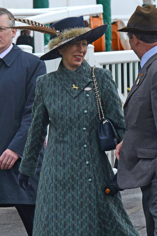 LIVERPOOL, ENGLAND - APRIL 05:  Anne, Princess Royal arrives on Day 3, Grand National day, of the Aintree races at Aintree Racecourse on April 5, 2014 in Liverpool, England.  (Photo by Richard Martin-Roberts/Getty Images)