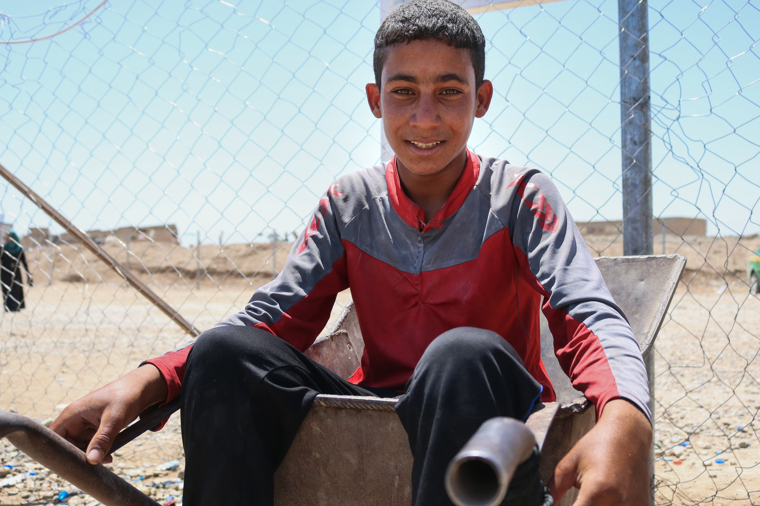 Displaced for just a few months, Hussain has become the sole breadwinner for his family of 15. He makes...