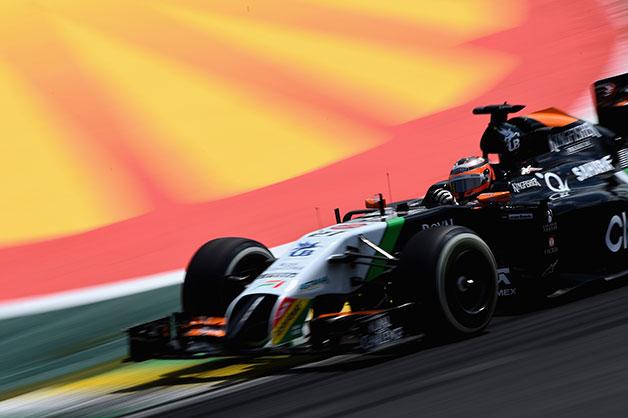 Nico Hulkenberg races at the 2014 Brazil F1 Grand Prix.