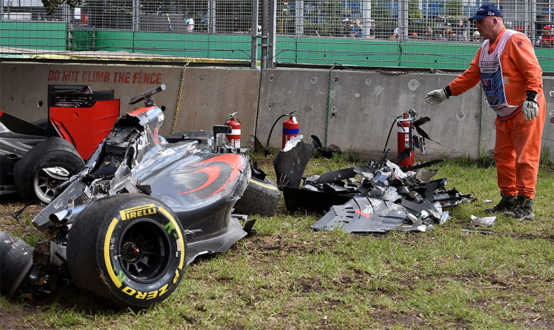 The aftermath of a crash between Fernando Alonso and Esteban Gutierrez at the 2016 Australian F1 Grand Prix.