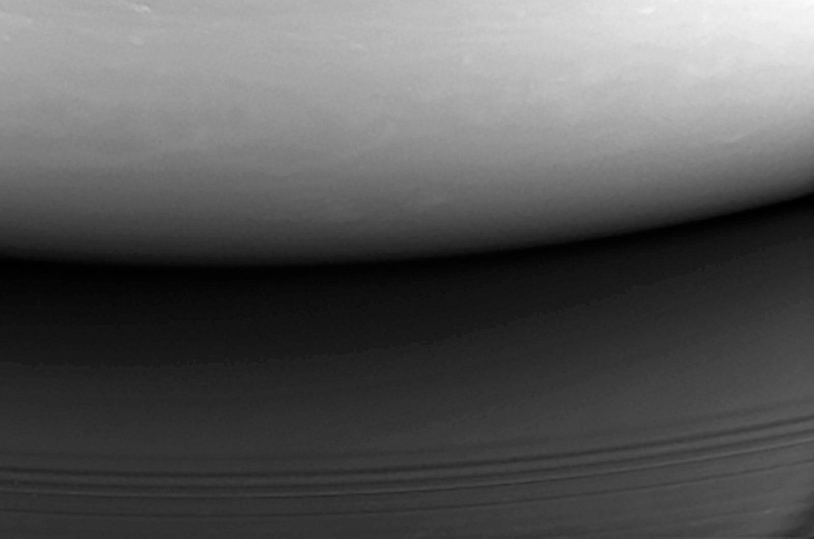 Cassini's final image of Saturn shows its crash site.