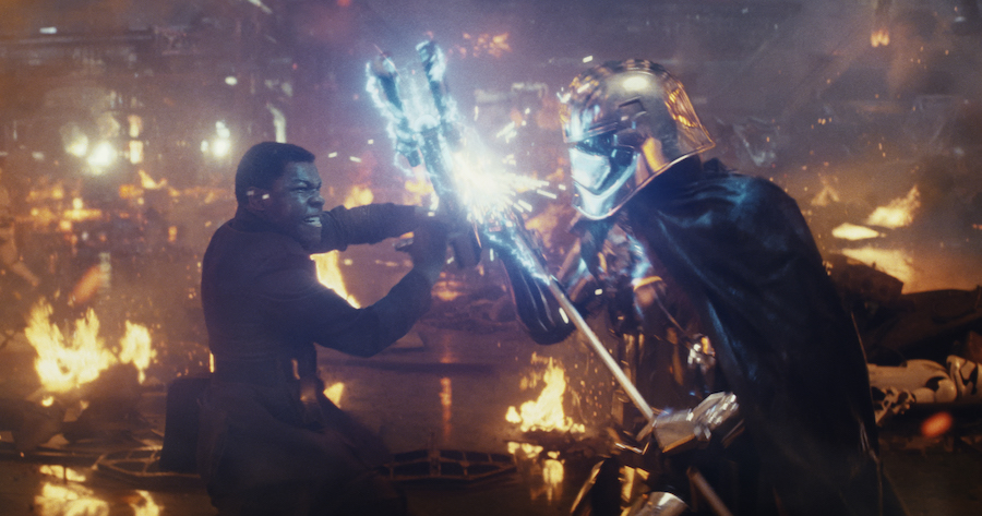 Star Wars: The Last Jedi  L to R: Finn (John Boyega) battling Captain Phasma (Gwendoline Christie)  Photo: Lucasfilm Ltd.   © 2017 Lucasfilm Ltd. All Rights Reserved.