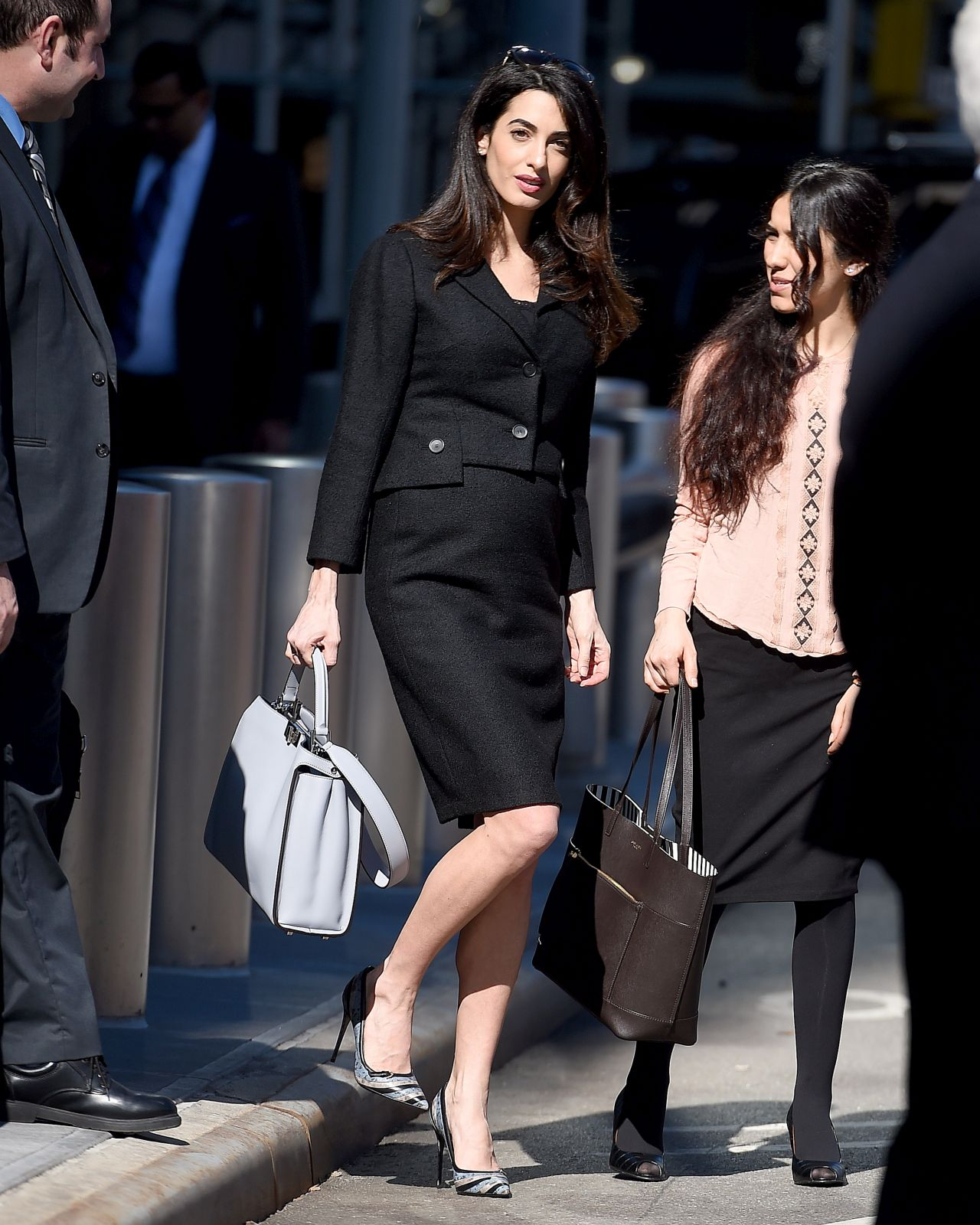 EXCLUSIVE: ** PREMIUM EXCLUSIVE RATES APPLY**  Amal Clooney seen wearing all-black clothing on International Women's Day at the UN in New York City <P> Pictured: Amal Clooney <B>Ref: SPL1458532  080317   EXCLUSIVE</B><BR/> Picture by: Robert O'neil/Splash News<BR/> </P><P> <B>Splash News and Pictures</B><BR/> Los Angeles: 310-821-2666<BR/> New York: 212-619-2666<BR/> London: 870-934-2666<BR/> photodesk@splashnews.com<BR/> </P>