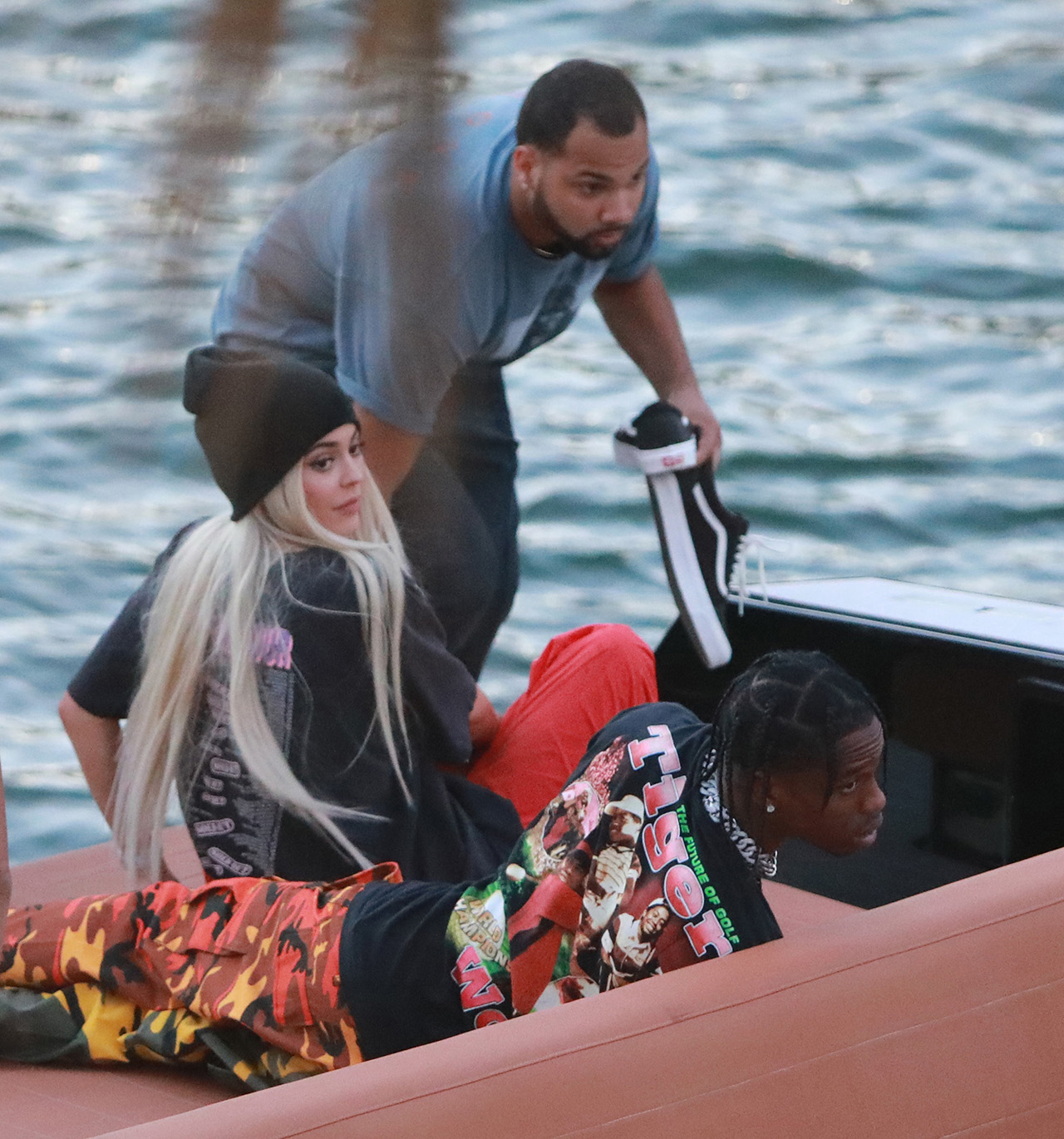 "EXCLUSIVE: Kylie Jenner goes back to being a blonde (like she was with X-Boyfriend Tyga) seen here are the first pictures of a very ""BLONDE"" Kylie Jenner and her new boyfriend Jacques Webster, Jr. better know as hip-hop singer Travis Scott. The lovebirds arrived by yacht and dined in a private back room of the exclusive restaurant the River Yacht Club where Kylie and Travis looked very happy and were spotted kissing and being very romantic while bodyguards kept out unwanted people. The new couple had a blast at the exclusive waterside restaurant where they were joined by Miami-based restaurant, nightlife and hospitality entrepreneur David Grutman and his wife Isabela Rangel. While Kylie drank Evian water all night her new man Rapper Travis Scott was in full party mode and did a total of 17 shots of Don Julio 1942™- World's First Luxury Tequila‎ with their friends. Perhaps the Tequila took its toll, as Travis looked a little under the weather on the boat ride home. The couple spent a total of $2000.00 with their friends and left a very generous additional $100.00 in addition to the 20% tip at The River Yacht Club Restaurant in Miami on May 7, 2017 in Miami, Florida. 07 May 2017 Pictured: Kylie Jenner, Travis-Scott. Photo credit: TBA / MEGA TheMegaAgency.com +1 888 505 6342 (Mega Agency TagID: MEGA34150_011.jpg) [Photo via Mega Agency]"