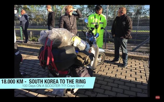 110ccのホンダ「スーパーカブ」に乗って、韓国からニュルブルクリンクまで1万8,000kmを走破!