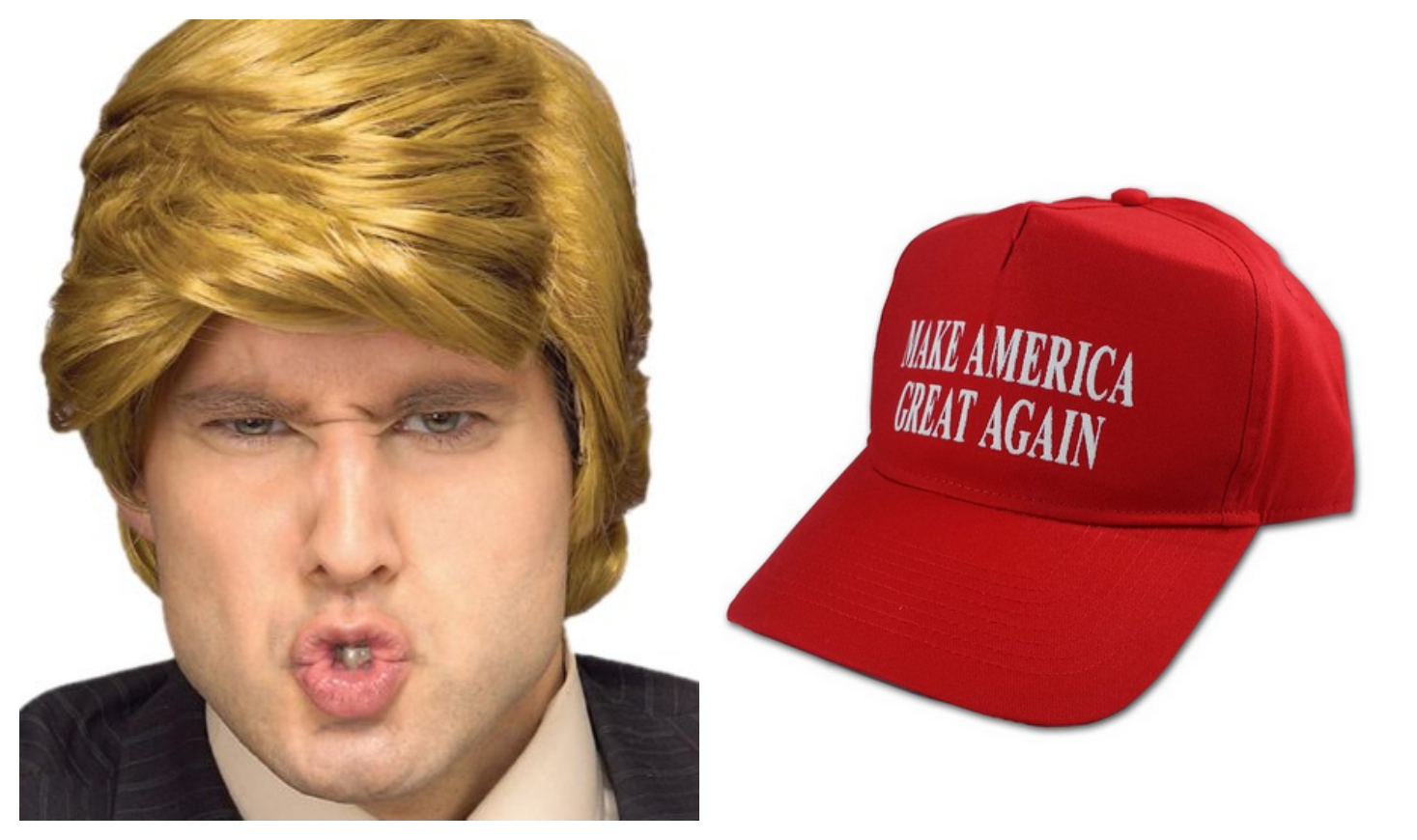donald trump wig and hat halloween costume