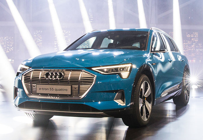 Audi rips the camouflage off its E-Tron electric SUV