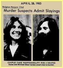 Recorte de periódico en el que aparecen Suzan Barnes y Michael Bear
