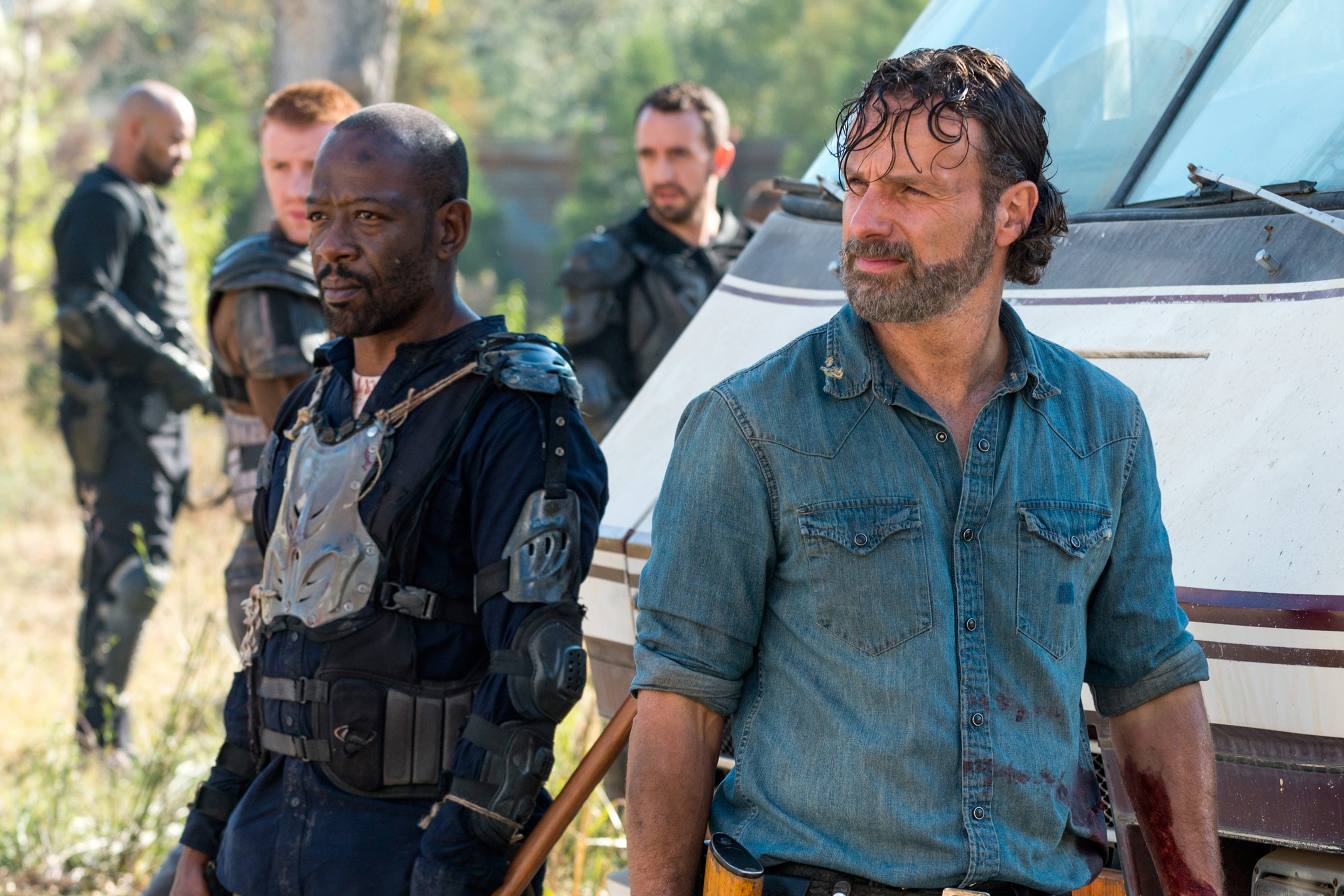Lennie James as Morgan Jones, Andrew Lincoln as Rick Grimes - The Walking Dead _ Season 7, Episode 16 - Photo Credit: Gene Page/AMC