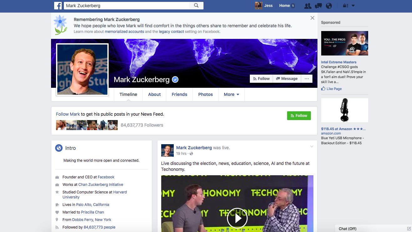 Facebook Profile 2016