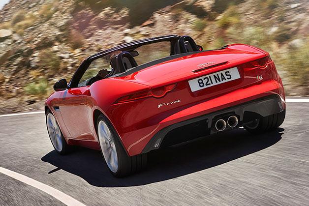 2016 Jaguar F-Type S Convertible - rear three-quarter view
