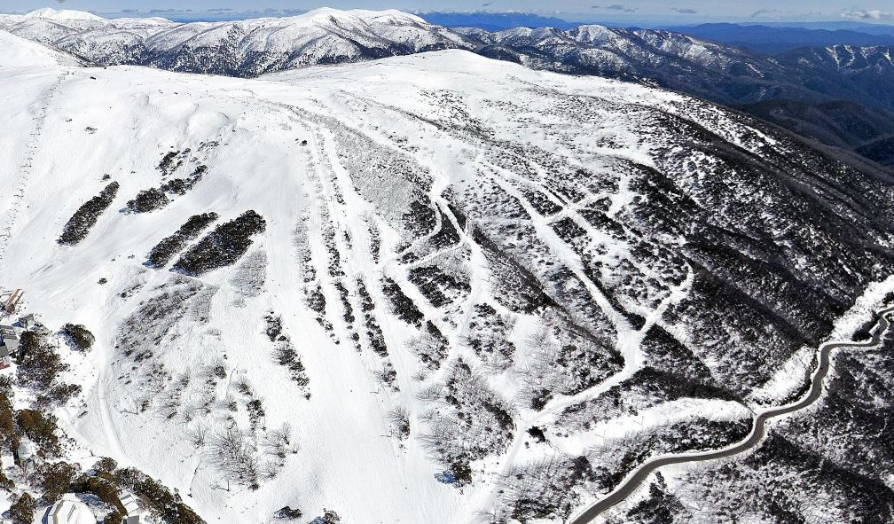 The Falls Creek village bowl. OK, we really want to go skiing now. Anybody know a good snow