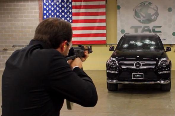 Bulletproof car shot with AK-47