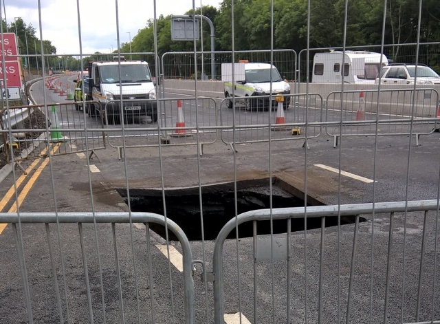 Part of A1 closed after huge sinkhole opens up
