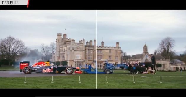 【ビデオ】F1マシンと名門ラグビー・クラブがスクラム対決!
